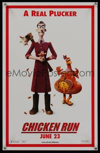 7x111 CHICKEN RUN teaser special poster '00 Peter Lord & Nick Park claymation, a real plucker!