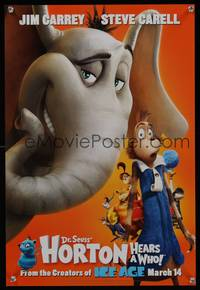 7x186 HORTON HEARS A WHO! style A teaser special poster '08 Dr. Seuss, Jim Carrey, Steve Carell!