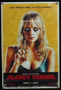 7x255 PLANET TERROR teaser special 12x18 '07 creepy image of Marley Shelton w/syringe!