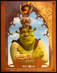 7x293 SHREK THE ART OF THE QUEST special poster '07 Shrek movie art w/Donkey & Puss In Boots!
