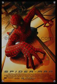 7x303 SPIDER-MAN advance special poster '02 Tobey Maguire crawling up wall, Sam Raimi, Marvel!
