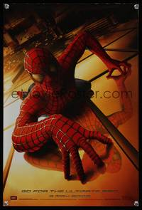 7x304 SPIDER-MAN teaser special poster '02 Tobey Maguire crawling up wall, Sam Raimi, Marvel Comics