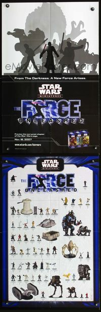 7x323 STAR WARS MINIATURES THE FORCE UNLEASHED two-sided special poster '07 tabletop acton figures!