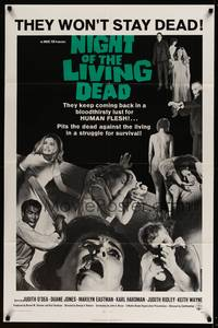 8b443 NIGHT OF THE LIVING DEAD  1sh '68 George Romero zombie classic, they lust for human flesh!