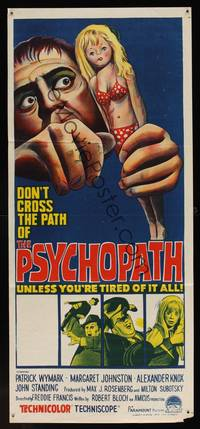8c323 PSYCHOPATH Aust daybill 66 written by Robert Bloch bizarre horror artwork