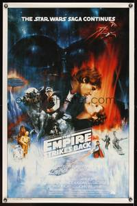 8c462 EMPIRE STRIKES BACK int'l 1sh '80 best unedited image by Roger Kastel, rare!