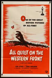 8h034 ALL QUIET ON THE WESTERN FRONT 1sh R60s Lew Ayres in a story of blood, guts and tears!