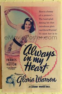 8h038 ALWAYS IN MY HEART 1sh '42 first Gloria Warren, tiny Kay Francis & Walter Huston!