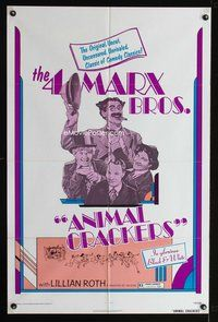8h050 ANIMAL CRACKERS 1sh R74 wacky artwork of all four Marx Brothers!