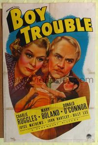 8h112 BOY TROUBLE 1sh '39 Charlie Ruggles, wild image of child beating up woman!