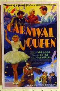 8h159 CARNIVAL QUEEN 1sh '37 art of pretty Dorothea Kent, Robert Wilcox, it's colossal!