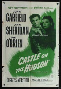 8h164 CASTLE ON THE HUDSON 1sh R49 close up of Ann Sheridan holding John Garfield with gun!