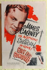 8h187 CITY FOR CONQUEST 1sh R46 close-up of James Cagney in action, Ann Sheridan in love!