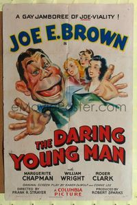 8h245 DARING YOUNG MAN 1sh '42 great artwork of big mouth Joe E. Brown with three sexy girls!
