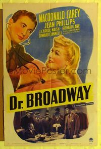 8h304 DR. BROADWAY style A 1sh '42 Macdonald Carey gives pretty Jean Phillips a check-up!