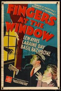 8h358 FINGERS AT THE WINDOW 1sh '42 art of Lew Ayres & Laraine Day + Rathbone's shadow!