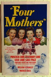 8h381 FOUR MOTHERS 1sh '41 Priscilla, Rosemary & Lola Lane plus Gale Page with babies!
