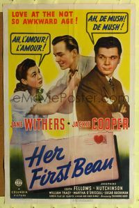 8h470 HER FIRST BEAU 1sh '41 Jane Withers, Jackie Cooper, love at the not so awkward age!