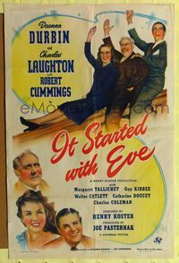 8h543 IT STARTED WITH EVE 1sh '41 Deanna Durbin, Charles Laughton & Robert Cummings waving!