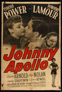 8h554 JOHNNY APOLLO 1sh '40 close-up of Tyrone Power & Dorothy Lamour!
