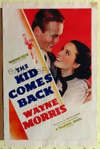 8h564 KID COMES BACK 1sh '38 directed by B. Reeves Eason, great art of boxer Wayne Morris!