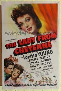 8h576 LADY FROM CHEYENNE style D 1sh '41 great close-up of pretty Loretta Young!