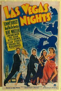 8h581 LAS VEGAS NIGHTS style A 1sh '41 Tommy Dorsey, Bert Wheeler, Constance Moore!