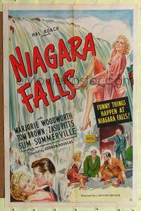 8h687 NIAGARA FALLS 1sh '41 great stone litho artwork of sexy Marjorie Woodworth!