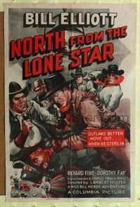 8h699 NORTH FROM THE LONE STAR 1sh '41 cool artwork of Wild Bill Elliott fighting in a casino!