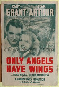 8h716 ONLY ANGELS HAVE WINGS 1sh R48 close-up of Cary Grant & Jean Arthur, Howard Hawks!