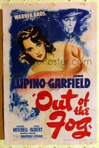 8h719 OUT OF THE FOG 1sh '41 directed by Anatole Litvak, Ida Lupino, John Garfield!