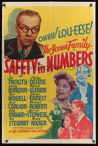 8h792 SAFETY IN NUMBERS 1sh '38 Jones Family, Jed Prouty, Shirley Deane, Spring Byington!