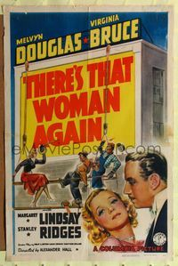8h906 THERE'S THAT WOMAN AGAIN style A 1sh '39 artwork of Melvyn Douglas & Virginia Bruce!