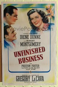 8h949 UNFINISHED BUSINESS style C 1sh '41 Robert Montgomery & Preston Foster love sexy Irene Dunne!