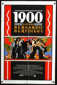 8m002 1900 1sh '77 Bernardo Bertolucci, Robert De Niro, cool Doug Johnson art!