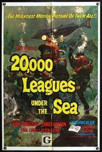8m004 20,000 LEAGUES UNDER THE SEA 1sh R71 Jules Verne classic, wonderful art of deep sea divers!