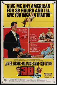 8m007 36 HOURS 1sh '65 James Garner with gun, sexy Eva Marie Saint, Rod Taylor!