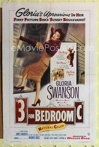 8m005 3 FOR BEDROOM C 1sh '52 cool art of glamorous Gloria Swanson boarding train!