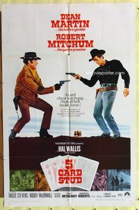 8m008 5 CARD STUD 1sh '68 cowboys Dean Martin & Robert Mitchum draw on each other!