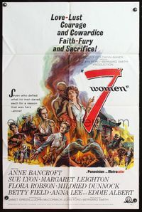 8m010 7 WOMEN 1sh '66 John Ford, Anne Bancroft, Sue Lyon, love, lust, courage & cowardice!