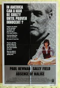 8m011 ABSENCE OF MALICE 1sh '81 Paul Newman, Sally Field, Sydney Pollack, cool design!