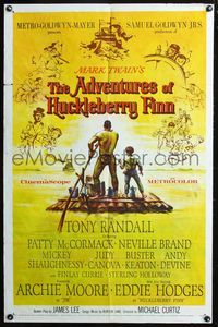 8m013 ADVENTURES OF HUCKLEBERRY FINN 1sh '60 Mark Twain, Eddie Hodges, Archie Moore!