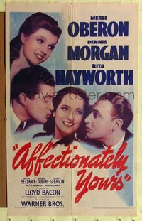 8m014 AFFECTIONATELY YOURS 1sh '41 Rita Hayworth, Merle Oberon between Dennis Morgan & Bellamy!