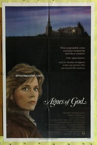 8m016 AGNES OF GOD 1sh '85 directed by Norman Jewison, Jane Fonda, nun Meg Tilly!