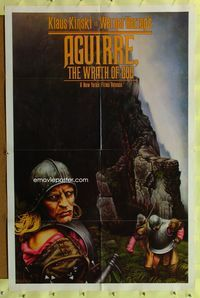 8m017 AGUIRRE, THE WRATH OF GOD 1sh '77 Werner Herzog, art of crazy Klaus Kinski by M. Deas!
