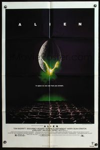 8m019 ALIEN 1sh '79 Ridley Scott outer space sci-fi monster classic, cool hatching egg image!
