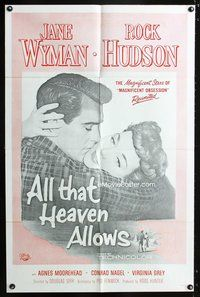 8m020 ALL THAT HEAVEN ALLOWS military 1sh '55 close up romantic art of Rock Hudson & Jane Wyman!