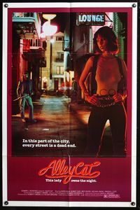 8m024 ALLEY CAT 1sh '84 sexy martial arts crime fighter Karin Mani on dead end street!