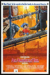 8m029 AMERICAN TAIL int'l 1sh '86 Steven Spielberg, Don Bluth, art of Fievel the mouse by Struzan!