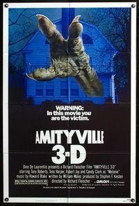 8m031 AMITYVILLE 3D 1sh '83 cool 3-D image of huge monster hand reaching from house!